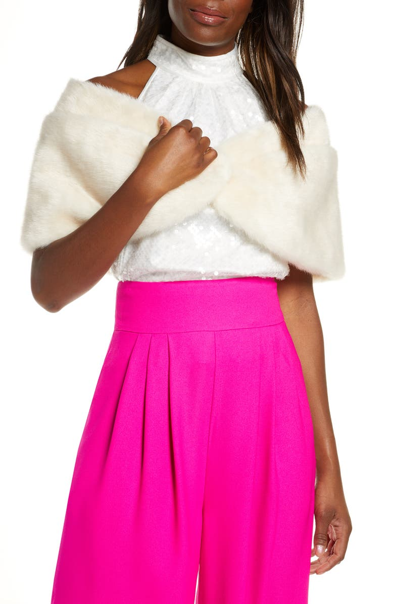 ELIZA J Faux Fur Shawl, Main, color, IVORY