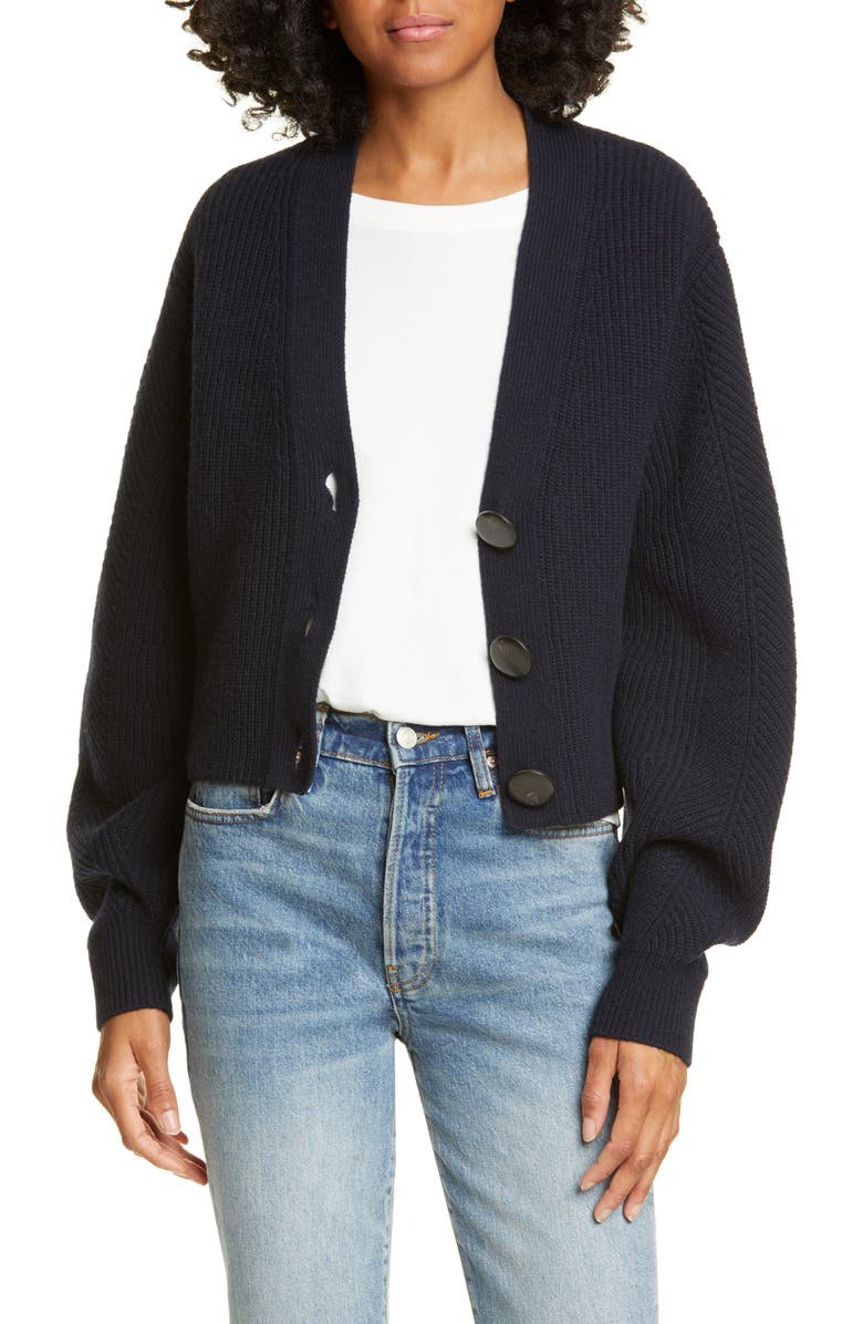 SEA Nellie Balloon Sleeve Wool Cardigan, Main, color, NAVY