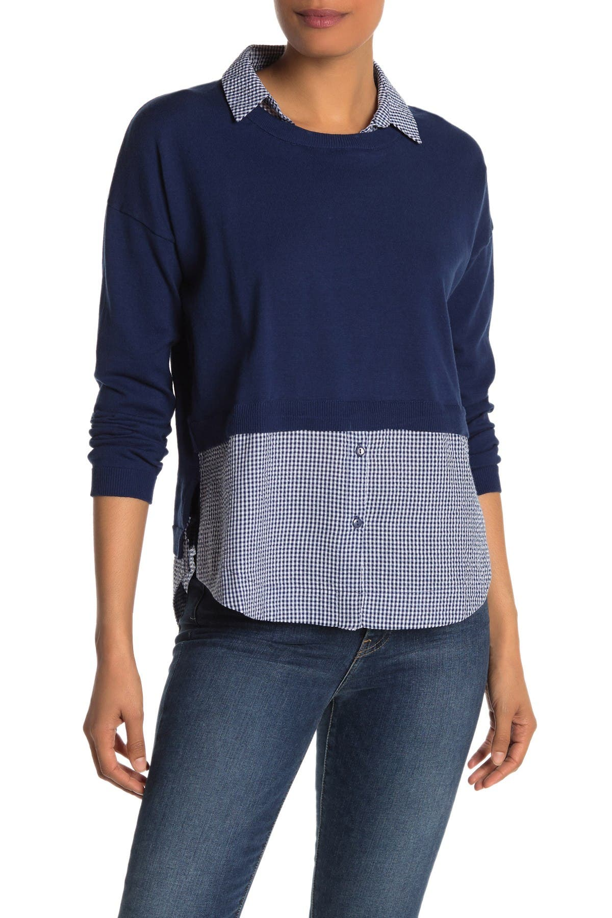 Image of Vertigo Gingham Sweater Two-Fer Top