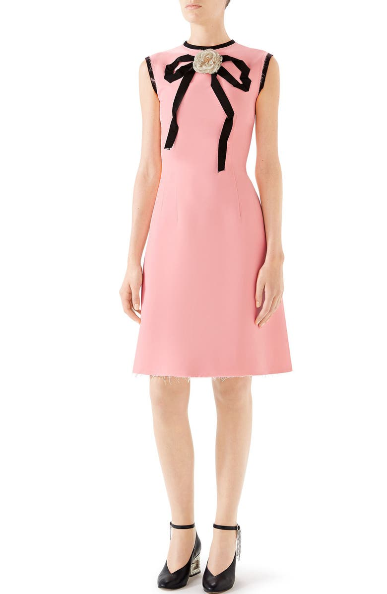 GUCCI Cady Crepe Bow A-Line Dress, Main, color, LIGHT BABY ROSE
