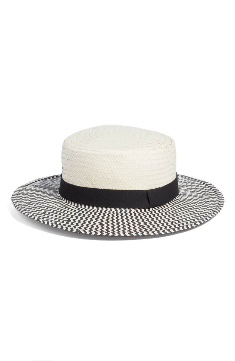 SOMETHING NAVY Two-Color Boater Hat, Main, color, 900