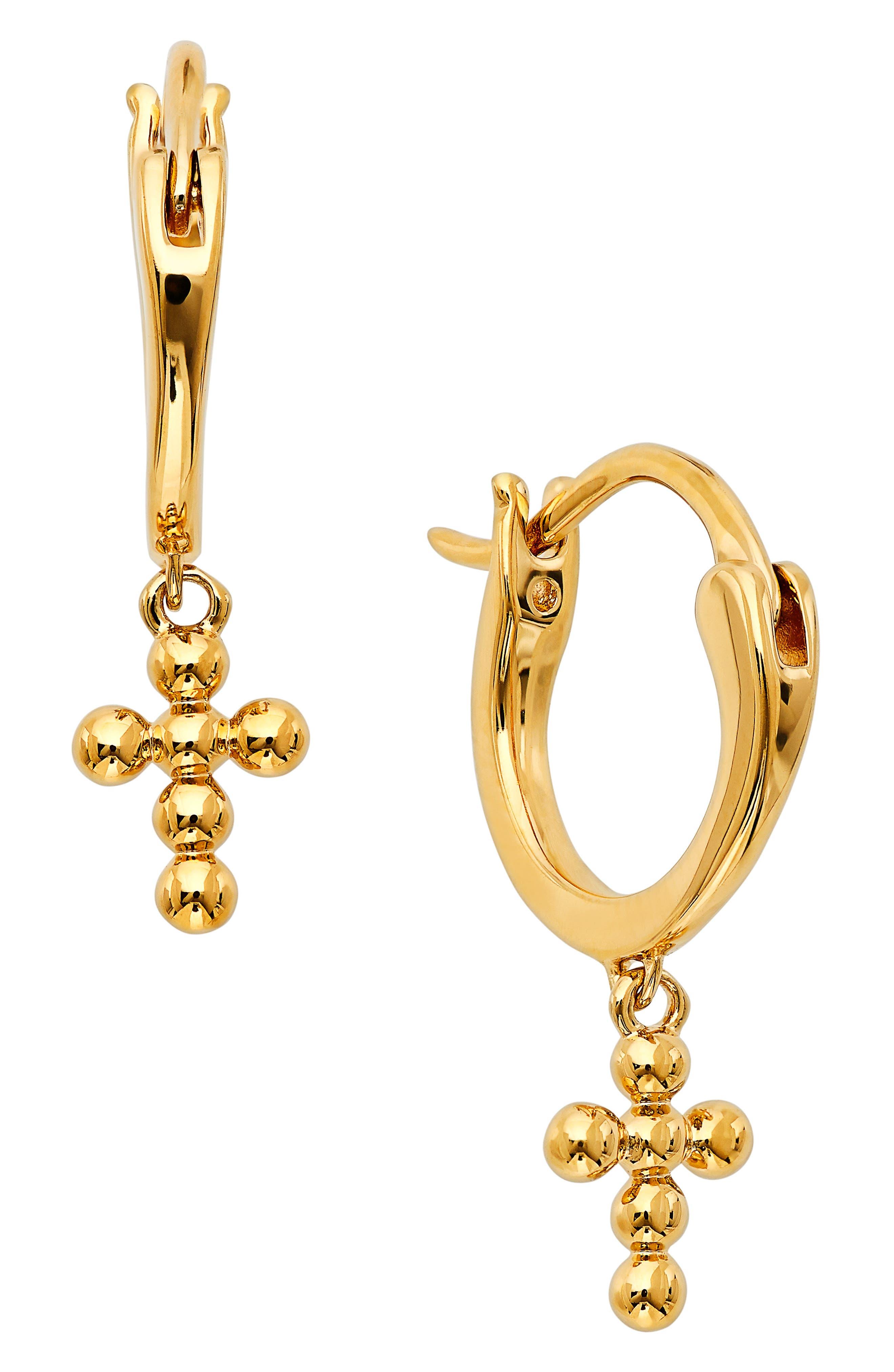 Lala Beaded Cross Huggie Hoop Earrings