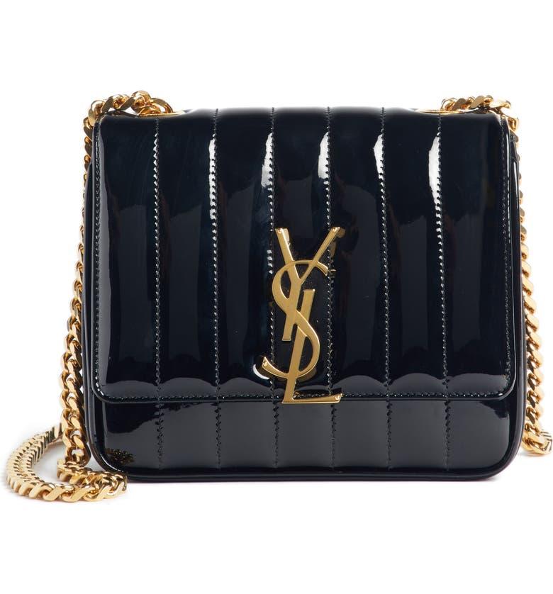 SAINT LAURENT Small Vicky Patent Leather Crossbody Bag, Main, color, NOIR