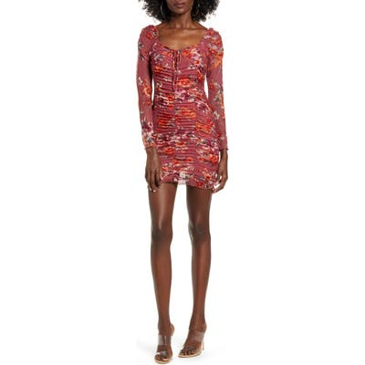 4Si3Nna Harper Floral Ruched Long Sleeve Minidress, Pink