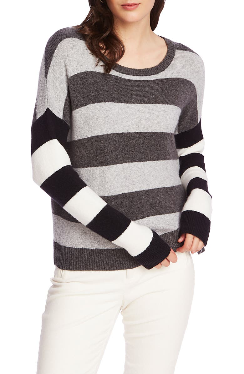 COURT & ROWE Stripe Sweater, Main, color, MED HEATHER GREY