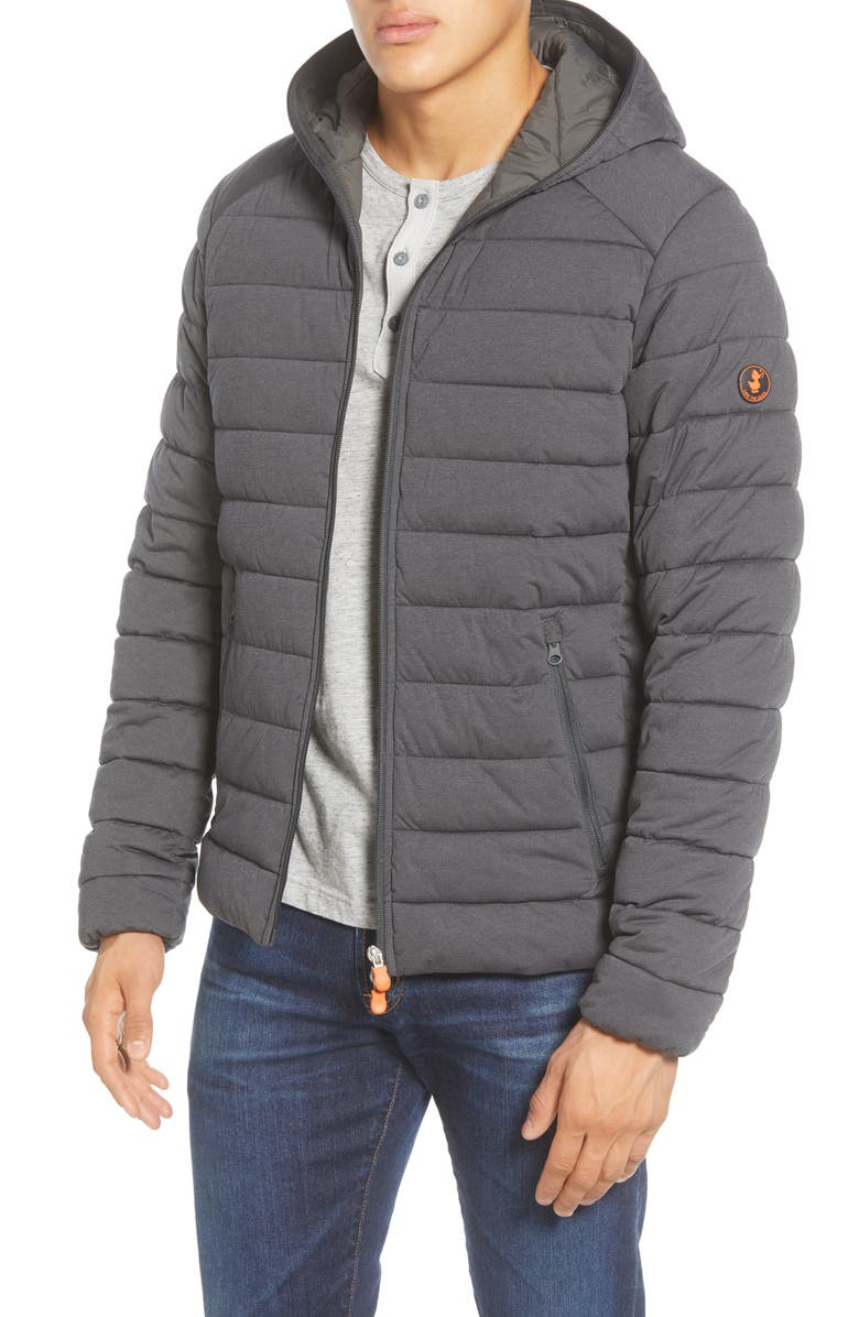 SAVE THE DUCK Water Resistant Hooded Puffer Jacket, Main, color, CHARCOAL