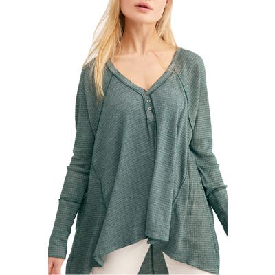 Free People Citrine Textured Cotton Blend Top, Green