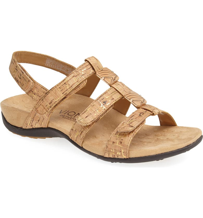 VIONIC 'Amber with Orthaheel<sup>®</sup> Technology' Adjustable Sandal, Main, color, GOLD CORK