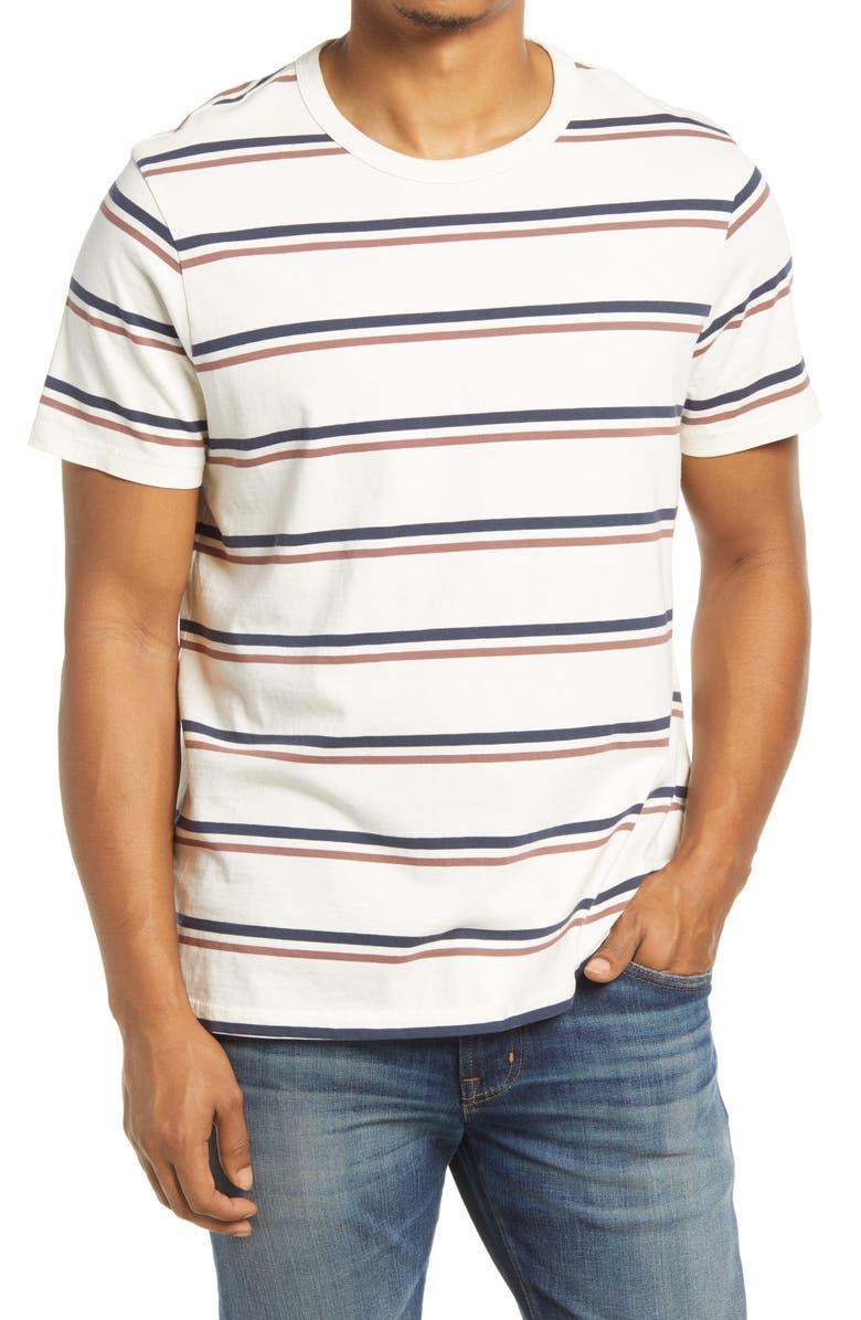 MADEWELL Garment Dyed Allday Crewneck T-Shirt, Main, color, ANTIQUE CREAM STRIPE