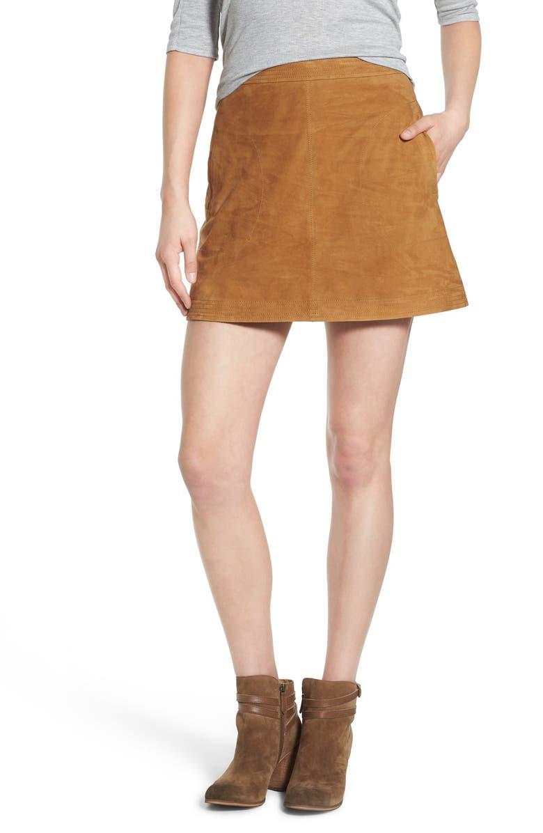 SUN & SHADOW Suede A-Line Miniskirt, Main, color, 235