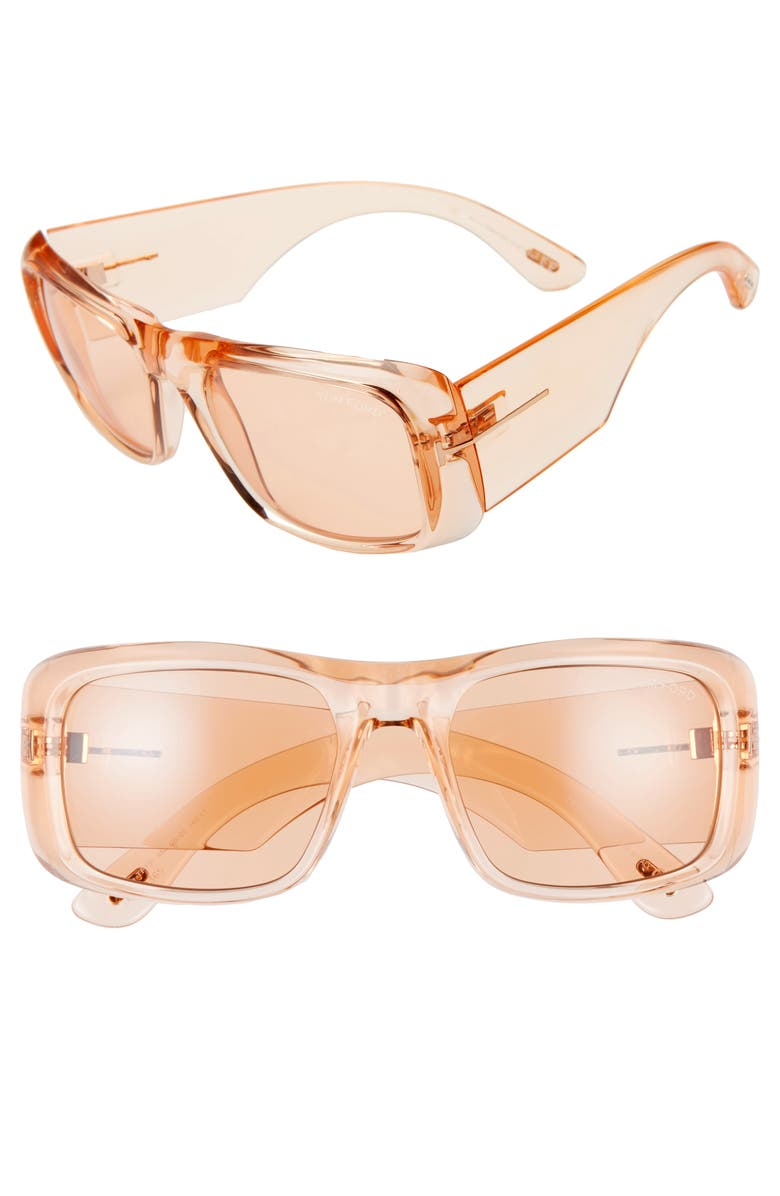 TOM FORD Aristotle 56mm Transparent Square Sunglasses, Main, color, SHINY LIGHT BROWN/ BROWN