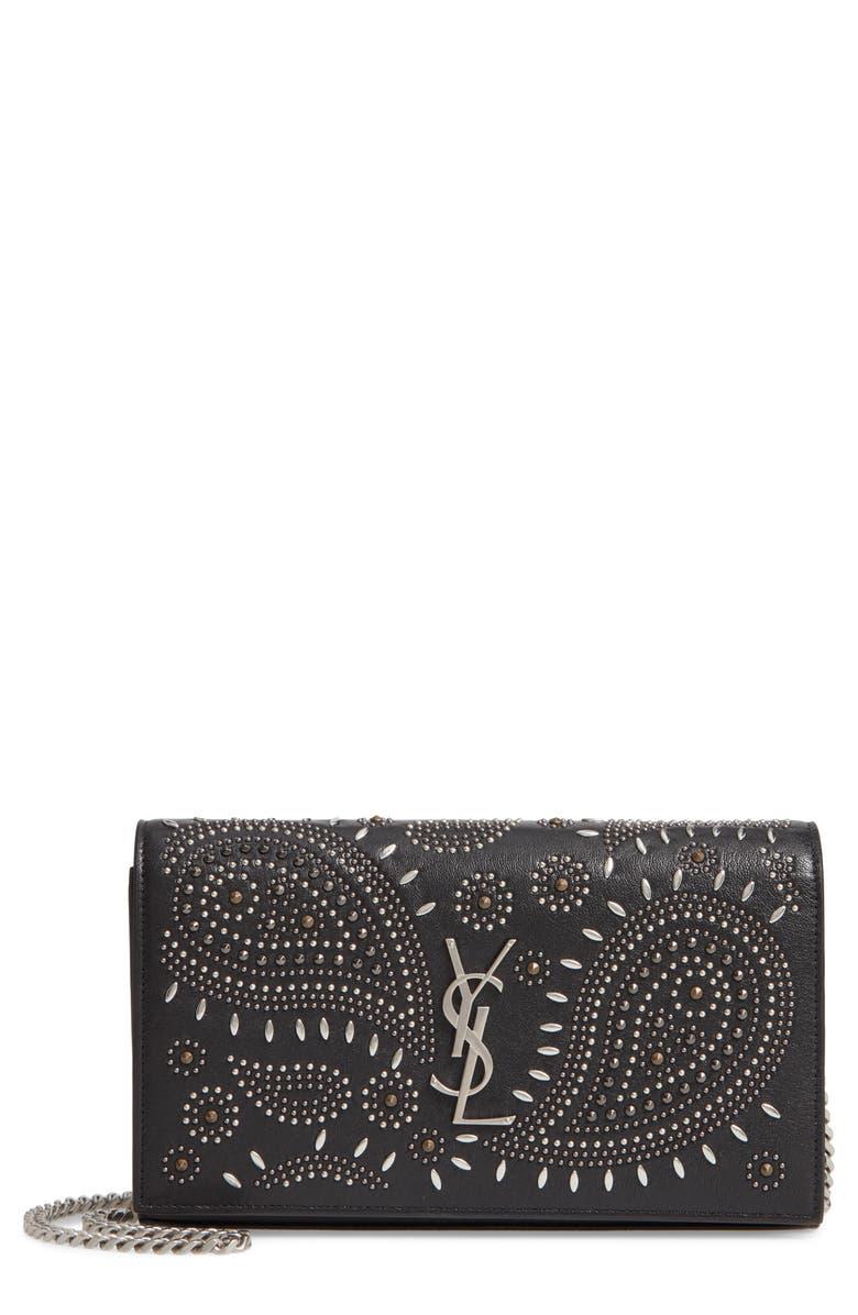 SAINT LAURENT Kate Studded Leather Wallet on a Chain, Main, color, NOIR