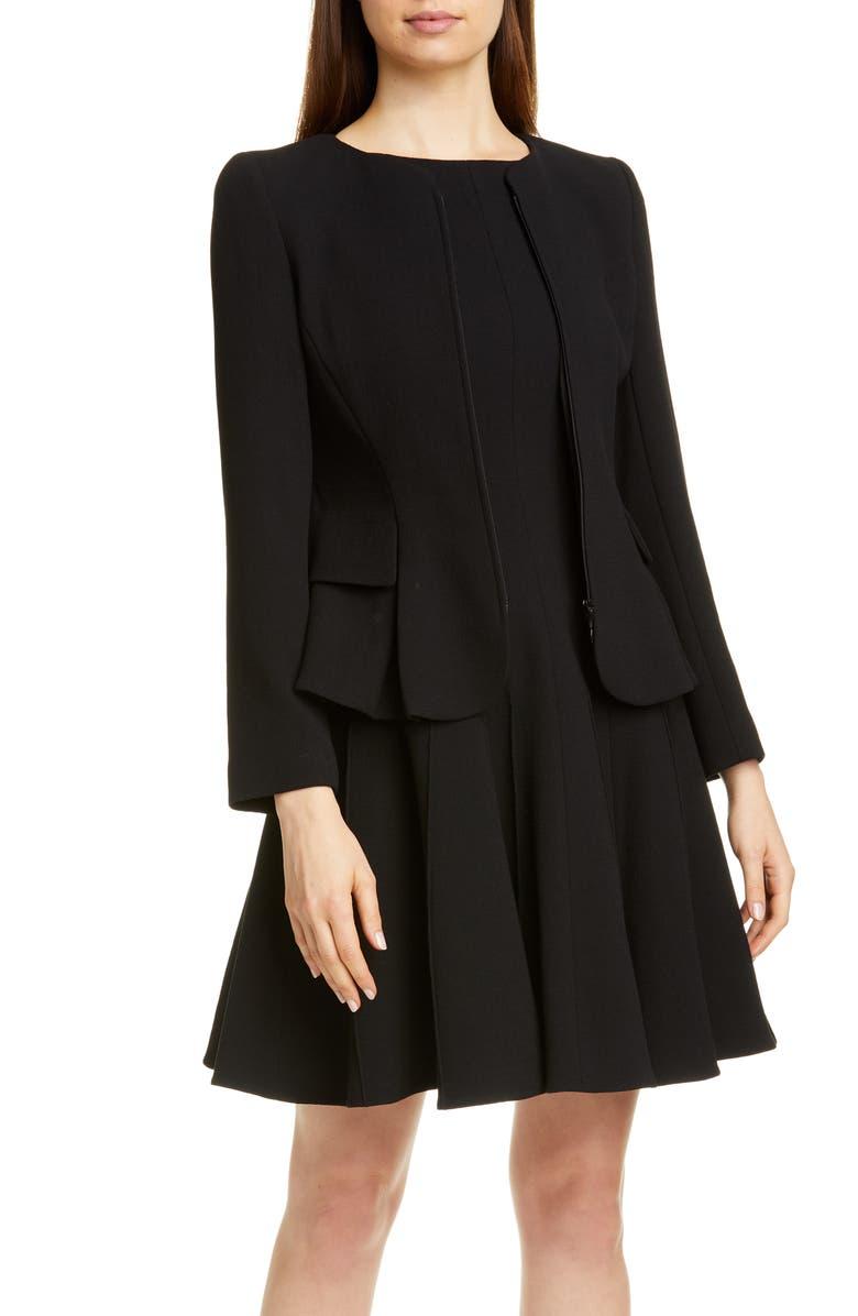 EMPORIO ARMANI Wool Crepe Peplum Jacket, Main, color, BLACK