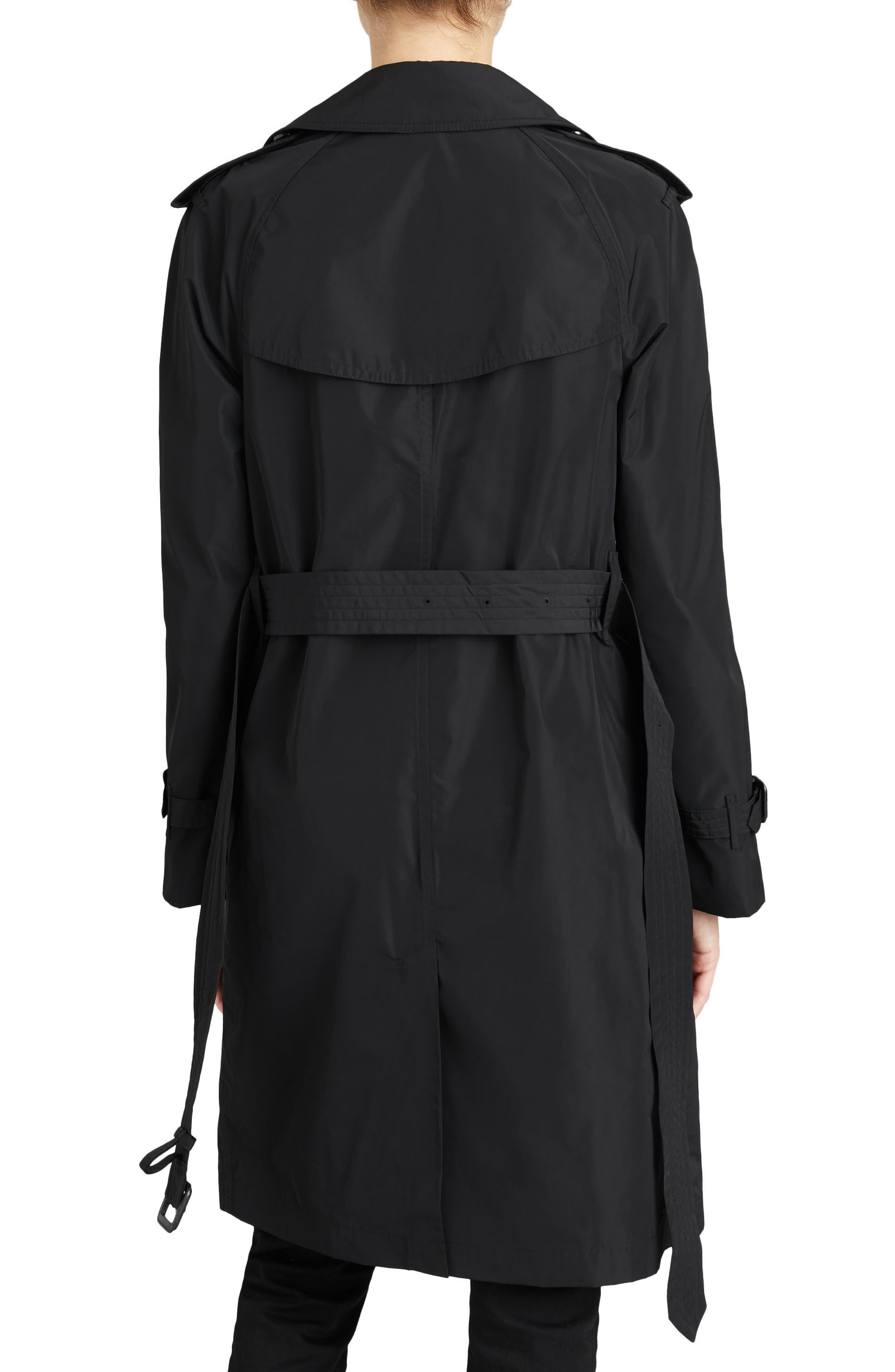 ,                             Amberford Taffeta Trench Coat with Detachable Hood,                             Alternate thumbnail 2, color,                             BLACK