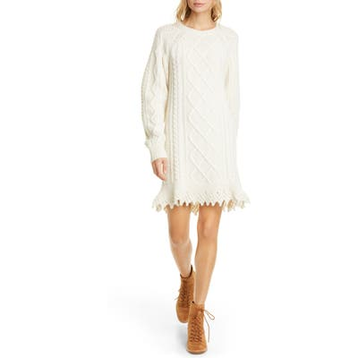 Polo Ralph Lauren Aran Wool & Alpaca Blend Long Sleeve Sweater Dress, Ivory