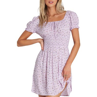 Billabong Falling For It Floral Off The Shoulder Minidress, Purple