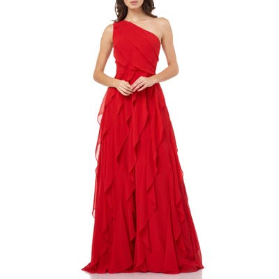 Carmen Marc Valvo Infusion One-Shoulder Ruffle Chiffon Gown, Red