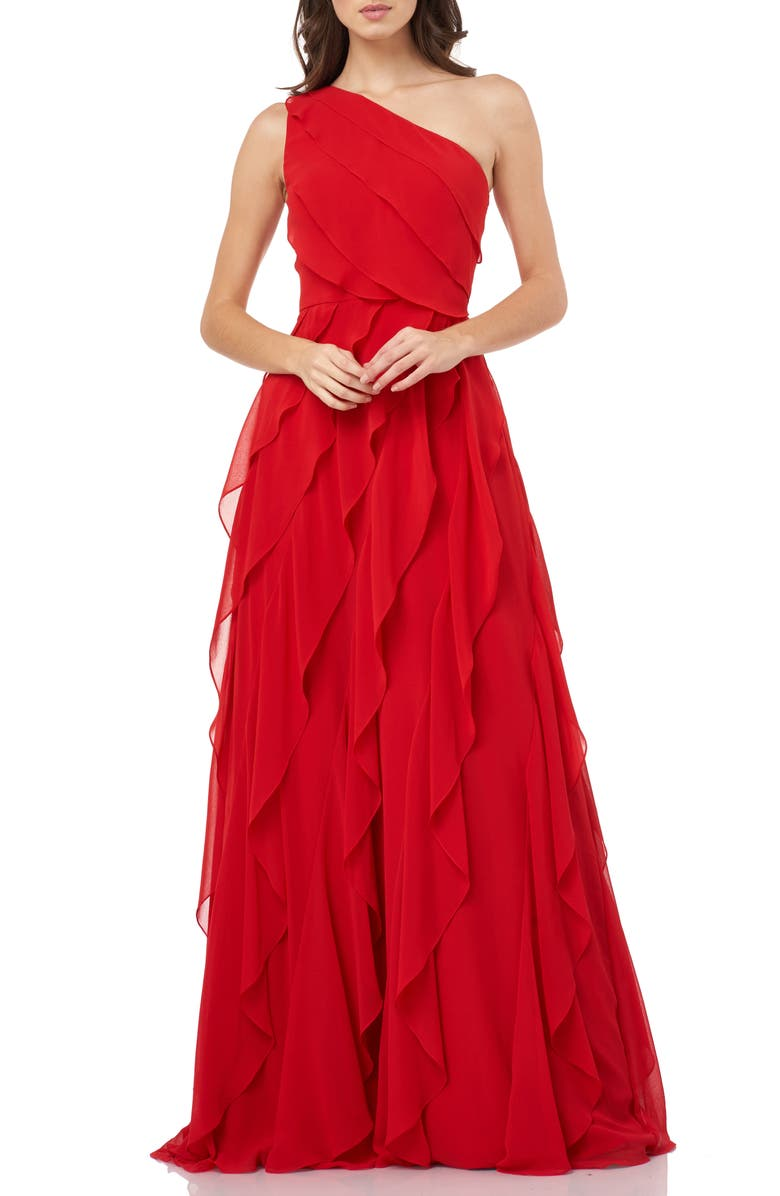 CARMEN MARC VALVO INFUSION One-Shoulder Ruffle Chiffon Gown, Main, color, CHERRY
