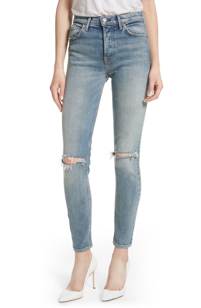GRLFRND Karolina High Waist Jeans, Main, color, WHAT IS LIFE