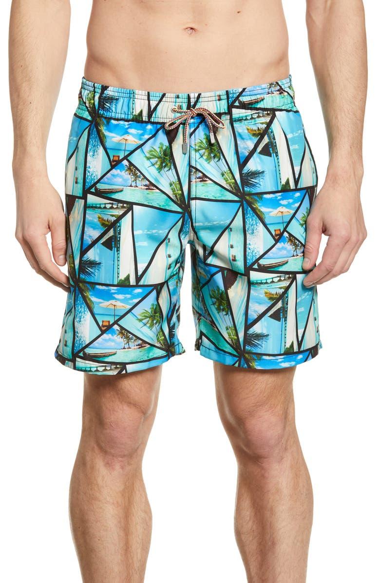 BUGATCHI Tropical Print Swim Trunks, Main, color, SKY