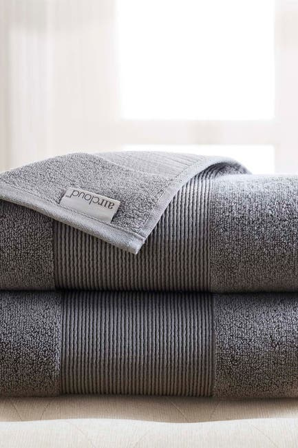 Image of Modern Threads Air Cloud Oversized Bath Sheet - Set of 2 - Charcoal Gray