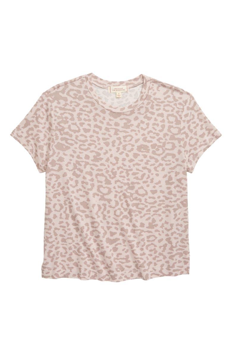 WALKING ON SUNSHINE Leopard Print Tee, Main, color, BLUSH