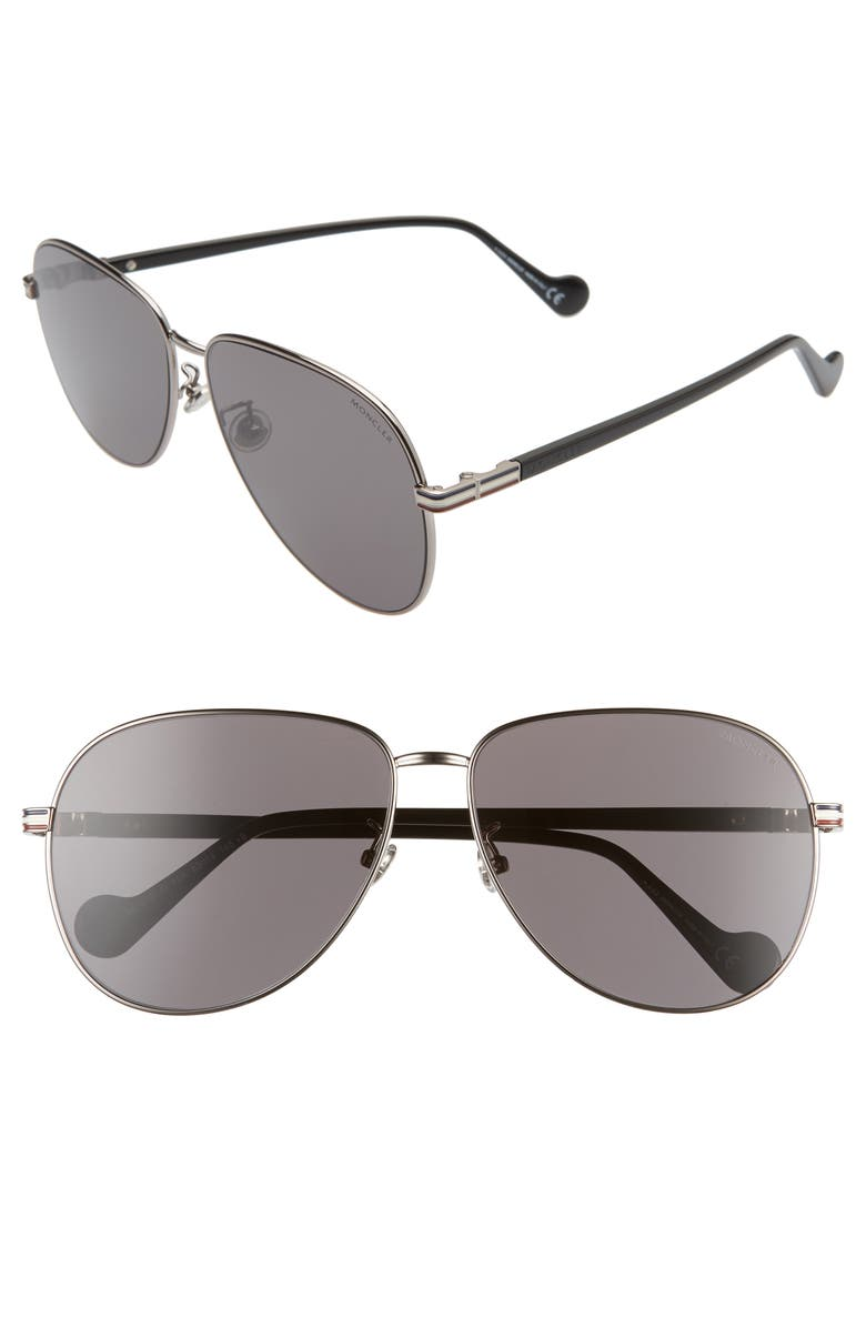 MONCLER 63mm Oversize Aviator Sunglasses, Main, color, 040
