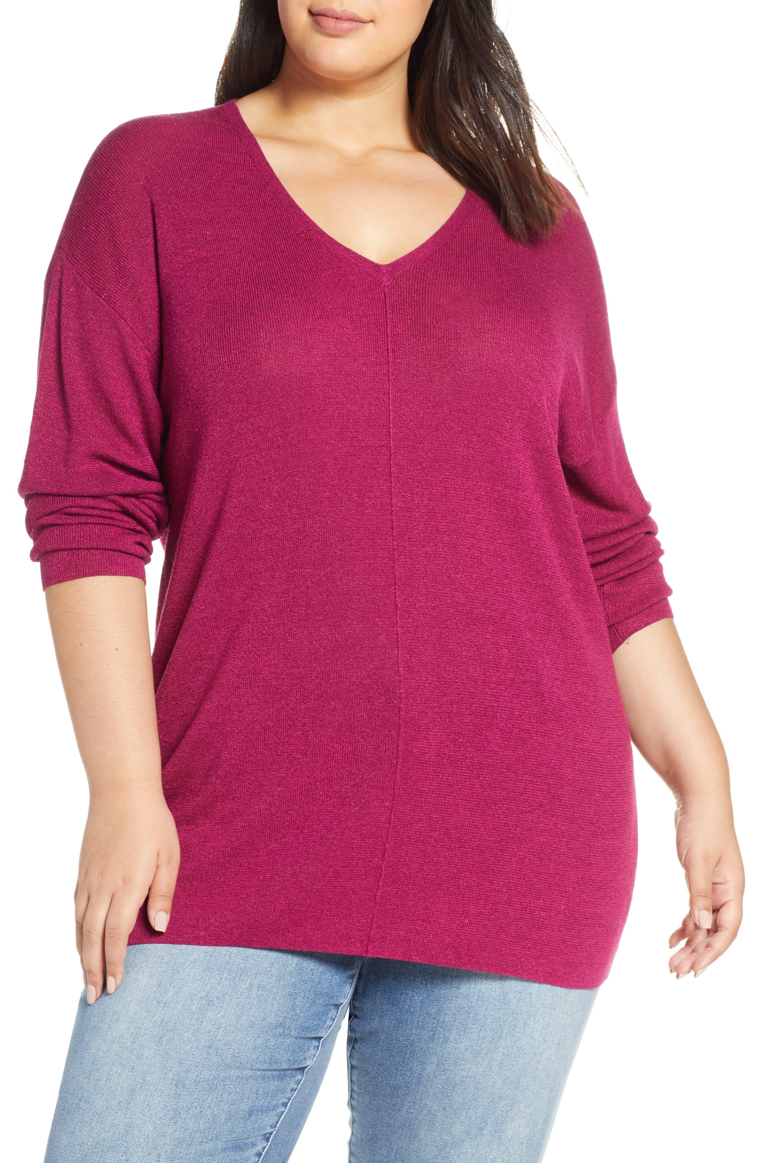 Plus Size Caslon V-Neck Linen Blend Sweater, Purple
