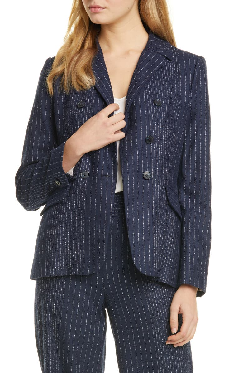 TAILORED BY REBECCA TAYLOR Mixed Pinstripe Suit Jacket, Main, color, NAVY