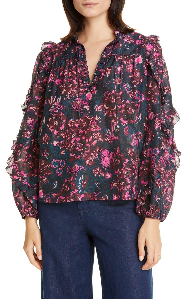ULLA JOHNSON Rana Ruffle Floral Blouse, Main, color, MIDNIGHT