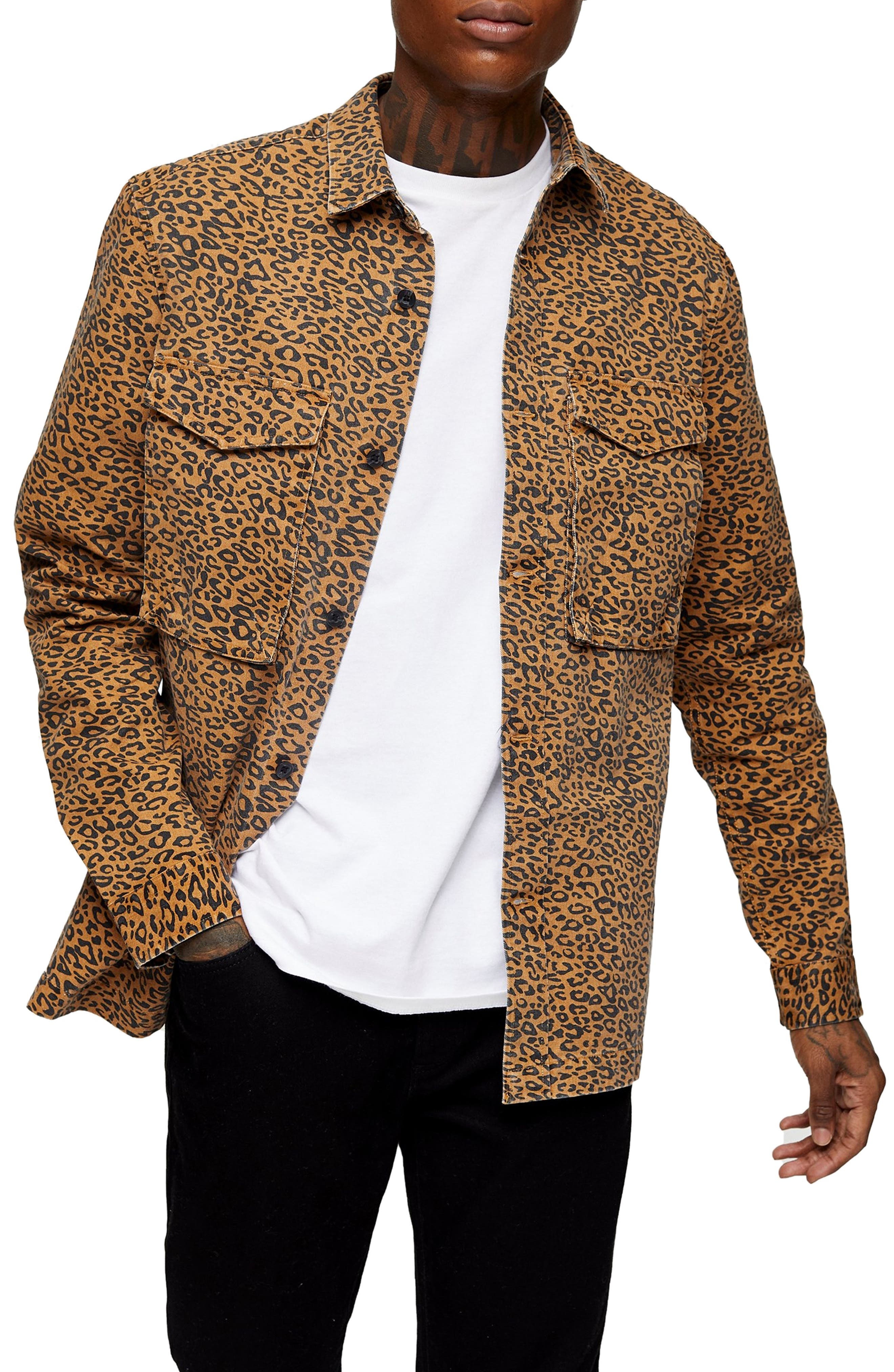 Wild leopard spots embolden this durable cotton button-up that\\\'s both polished and edgy at the same time. Style Name: Topman Leopard Print Overshirt. Style Number: 6092331. Available in stores.