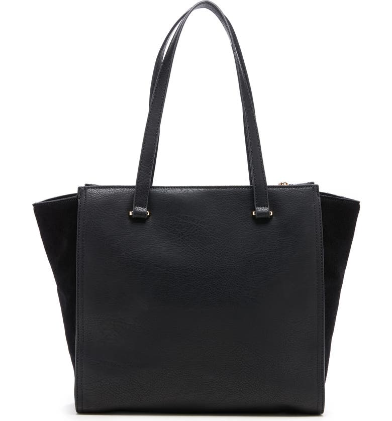 SOLE SOCIETY Chele 2 Faux Leather & Genuine Suede Tote, Main, color, BLACK