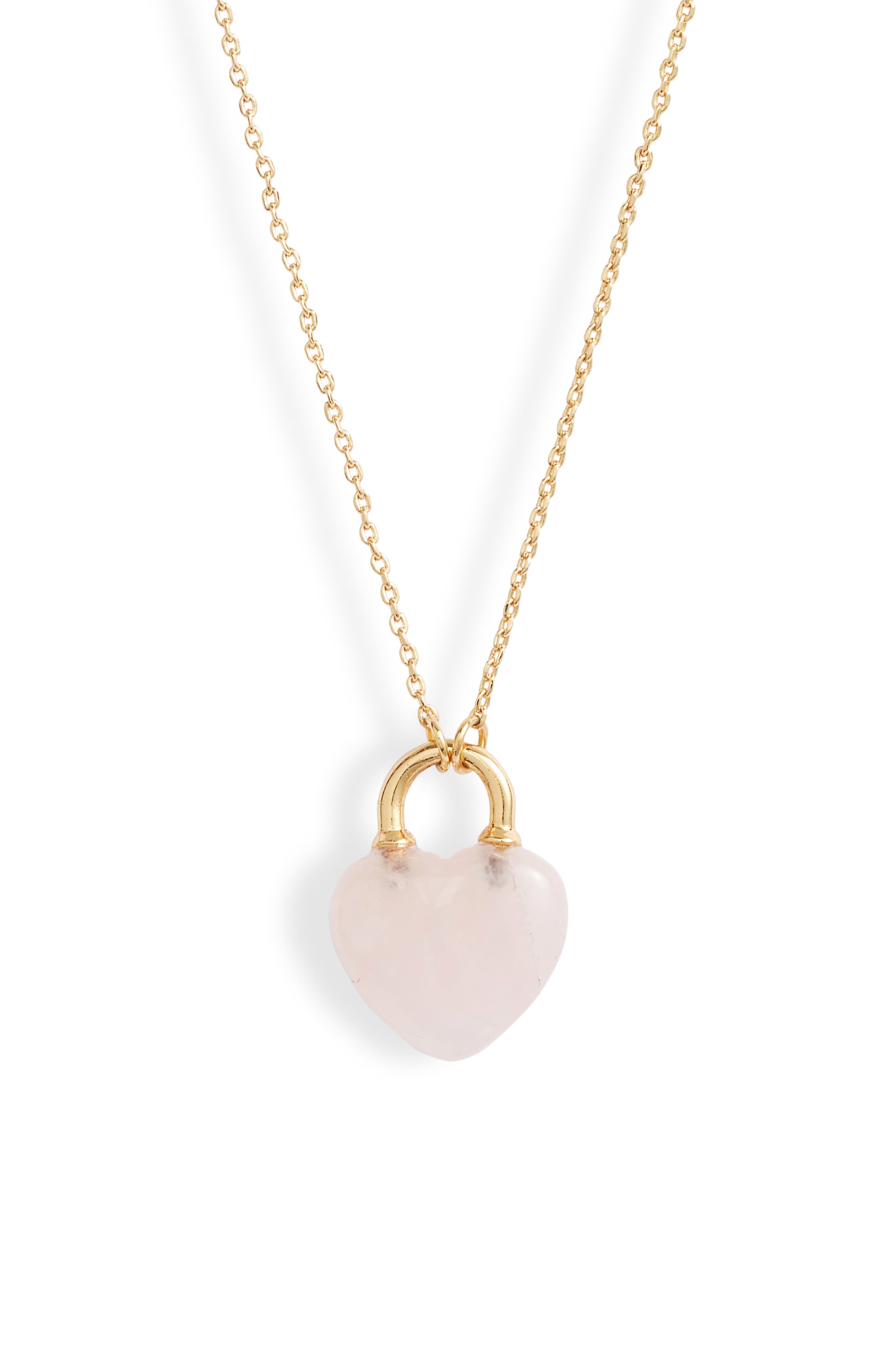 Kate Spade New York Jewelry open heart stone lock mini pendant necklace