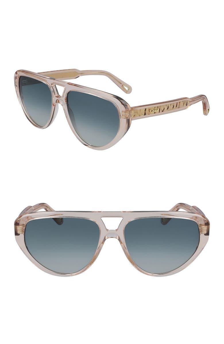 CHLOE Aviator Full Rim 58mm Sunglasses, Main, color, PEACH