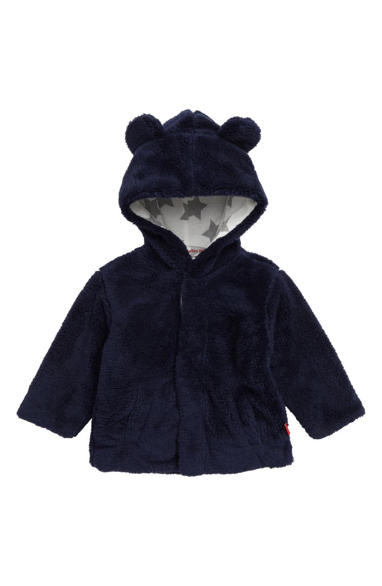 MAGNETIC ME Minky Fleece Hooded Jacket, Main, color, NAVY