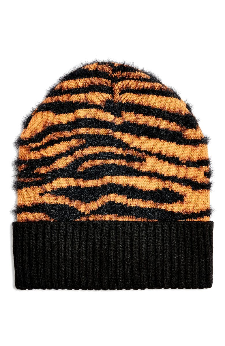Tiger Stripe Beanie by Topshop