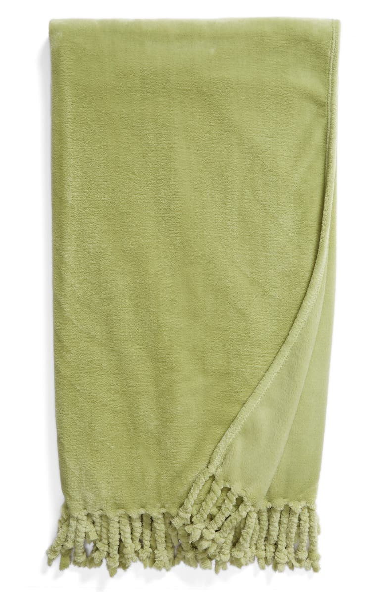 NORDSTROM AT HOME Kennebunk Bliss Plush Throw, Main, color, OLIVE NILE