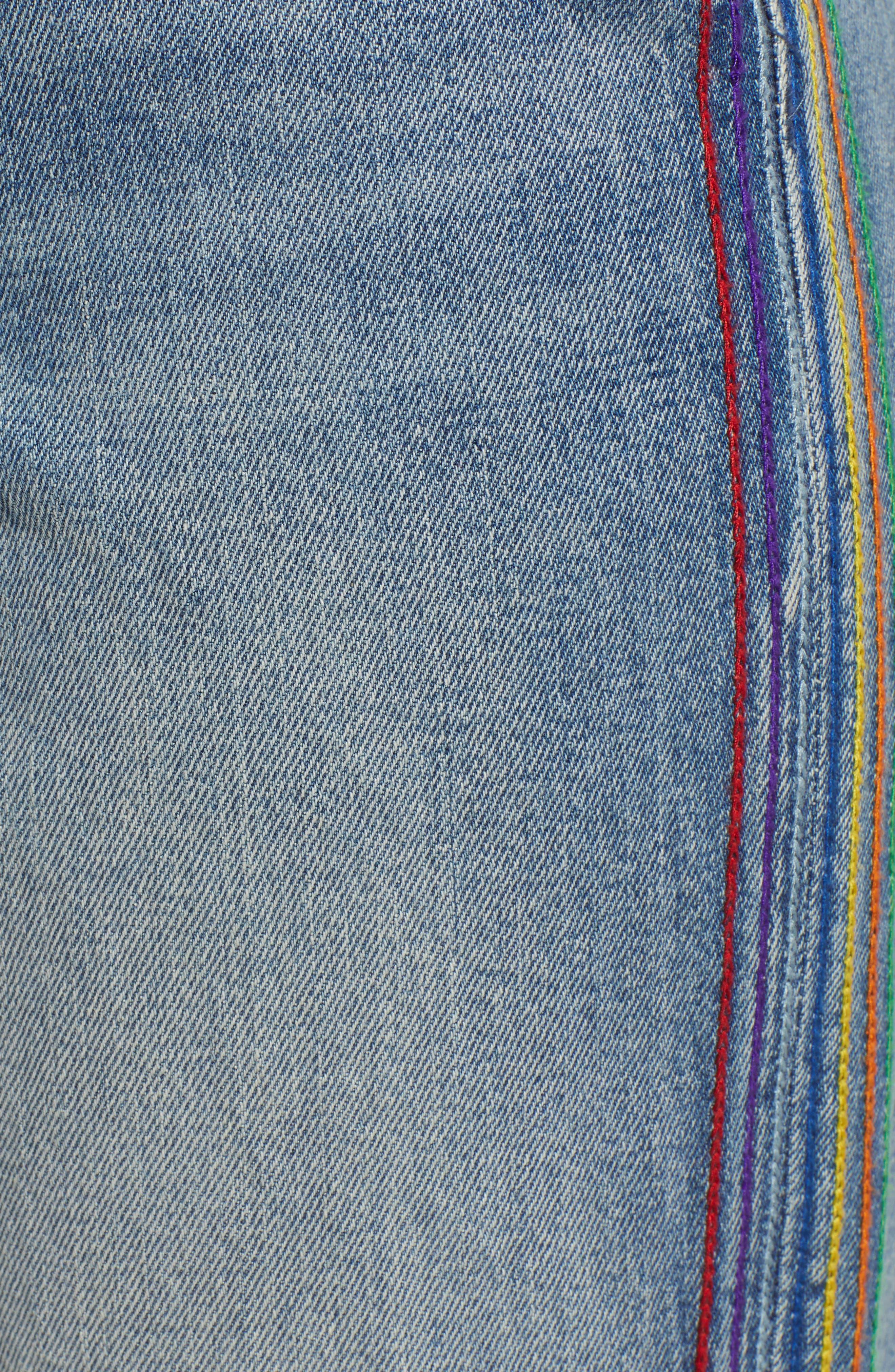 ,                             Rainbow Side Seam Ripped Straight Leg Jeans,                             Alternate thumbnail 6, color,                             400