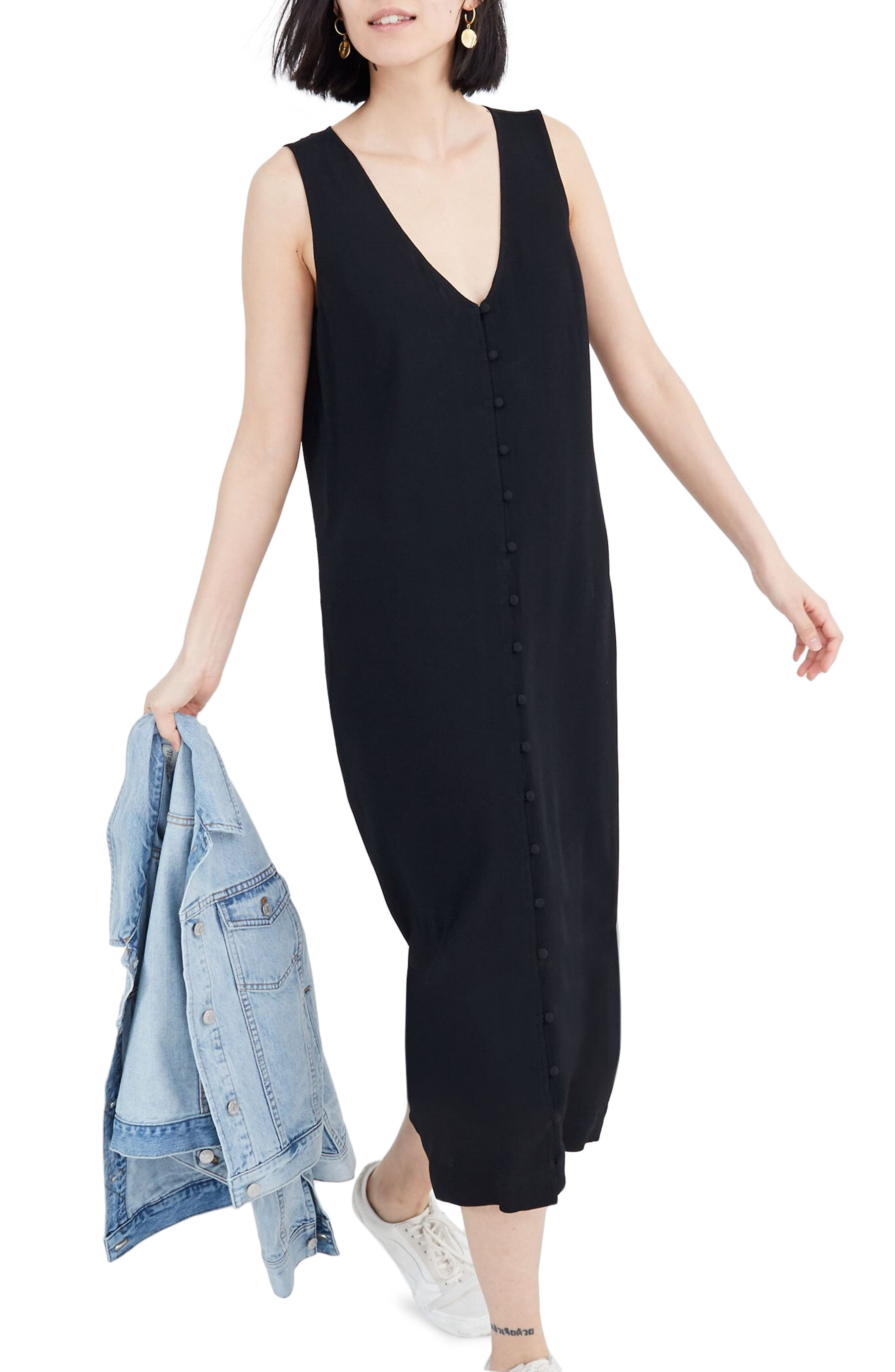 Madewell Heather Button Front Dress, Black