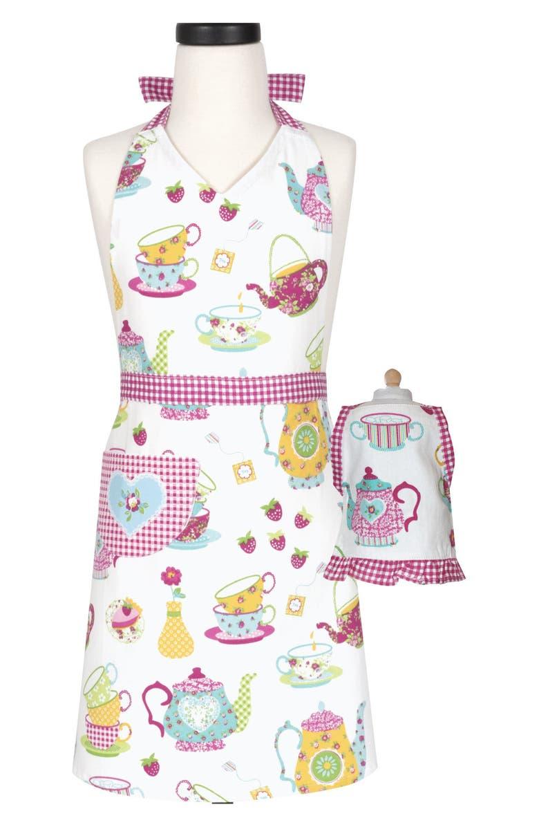 HANDSTAND KITCHEN Tea Party Kid Apron & Doll Apron Set, Main, color, MULTI