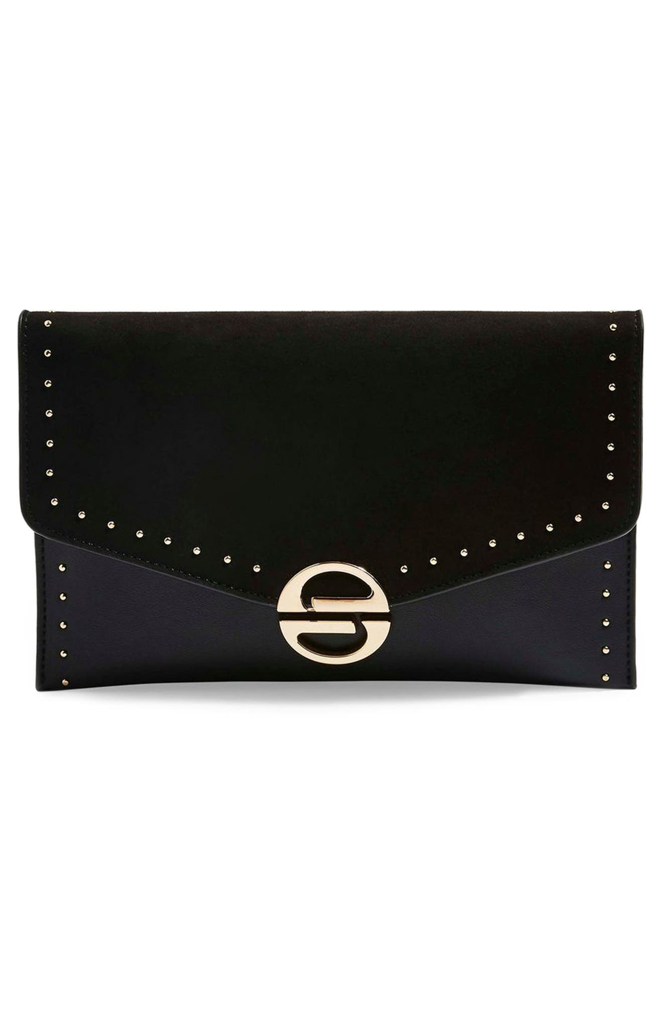 ,                             Candice Studded Faux Leather Clutch,                             Alternate thumbnail 5, color,                             001
