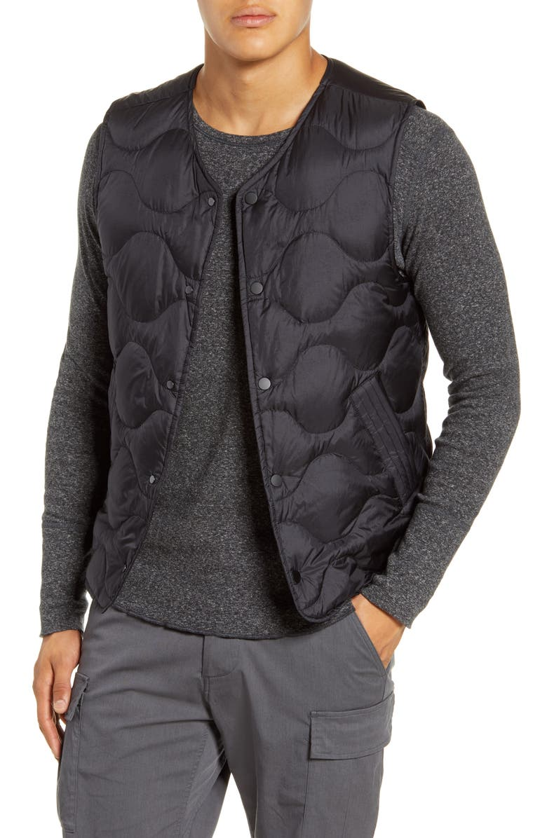 WINGS + HORNS Quilted Ripstop Nylon Down Vest, Main, color, 001