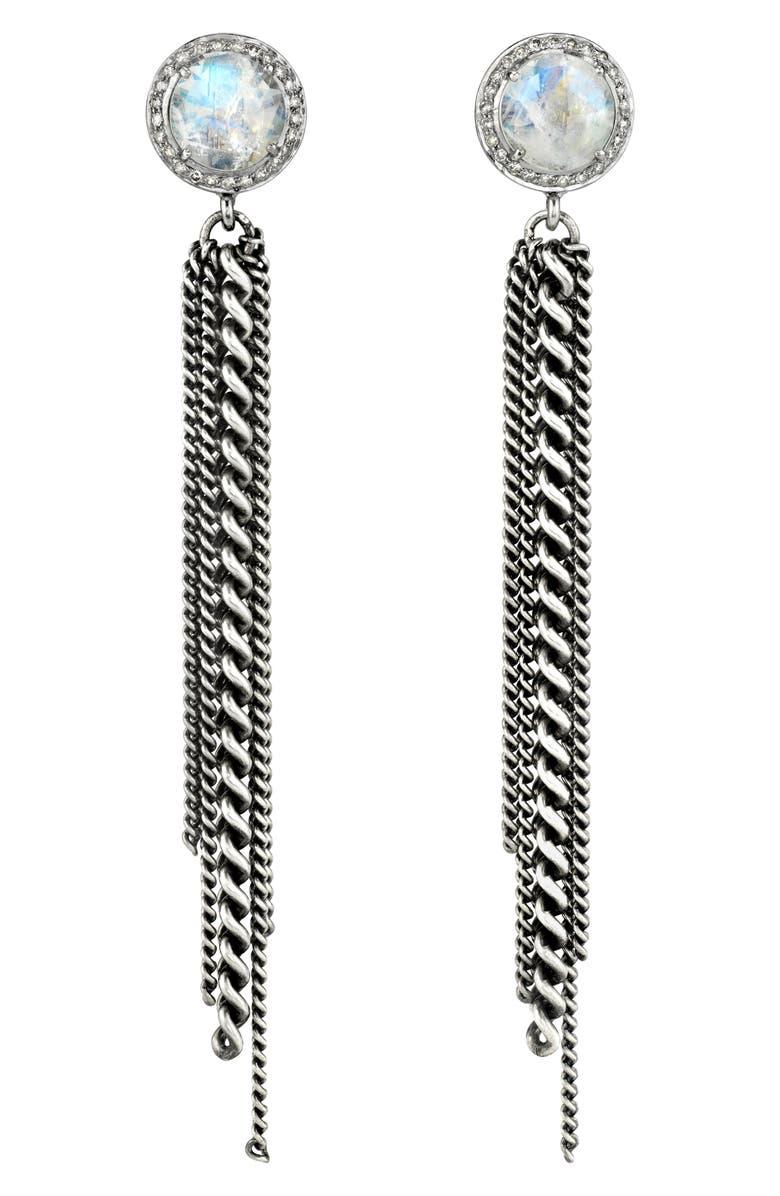 SHERYL LOWE Moonstone Fringe Earrings, Main, color, MOONSTONE/ SILVER