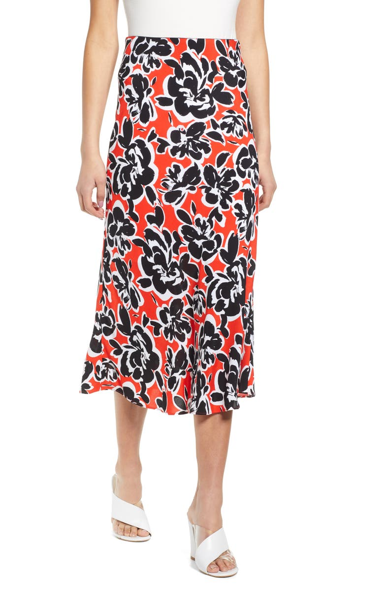 LEITH Bias Cut Midi Skirt, Main, color, RED SCARLET INVERSE FLORAL