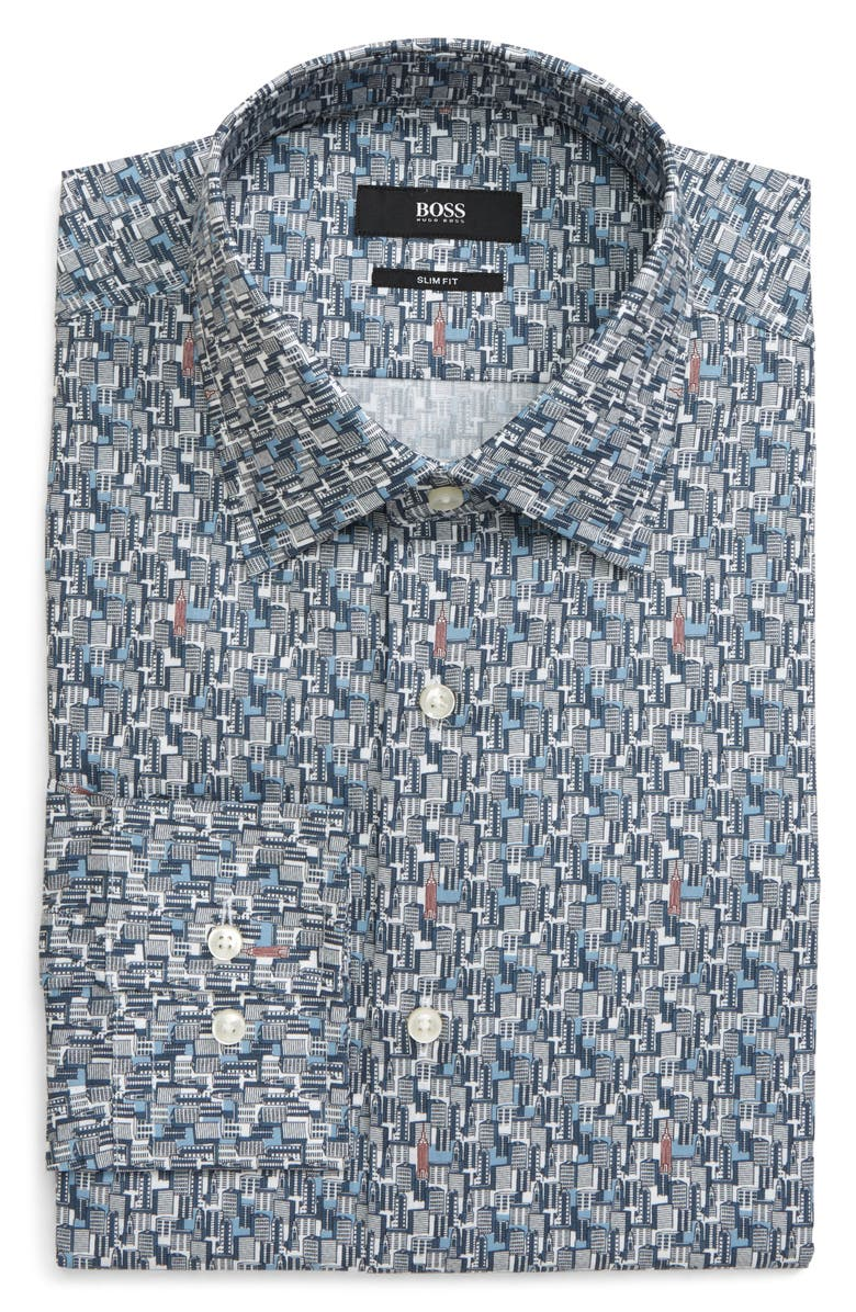 BOSS Jango Slim Fit Print Dress Shirt, Main, color, NAVY