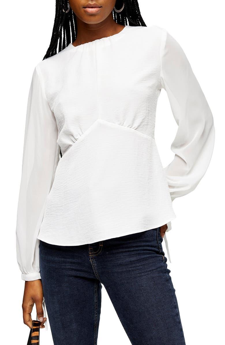 TOPSHOP Chiffon Sleeve Tea Blouse, Main, color, IVORY