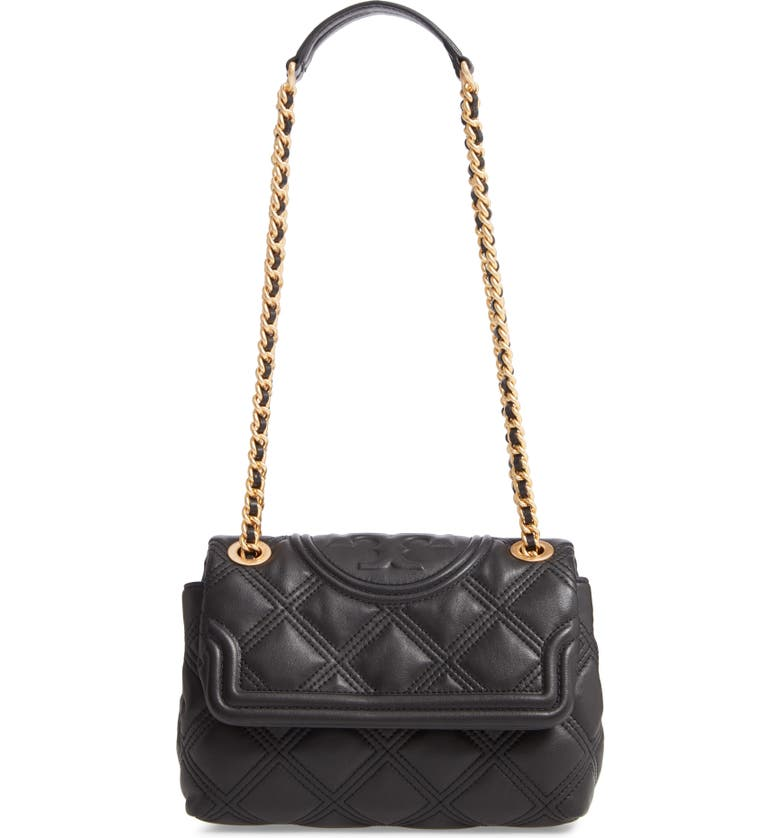 TORY BURCH Small Fleming Soft Quilted Leather Crossbody Bag, Main, color, BLACK