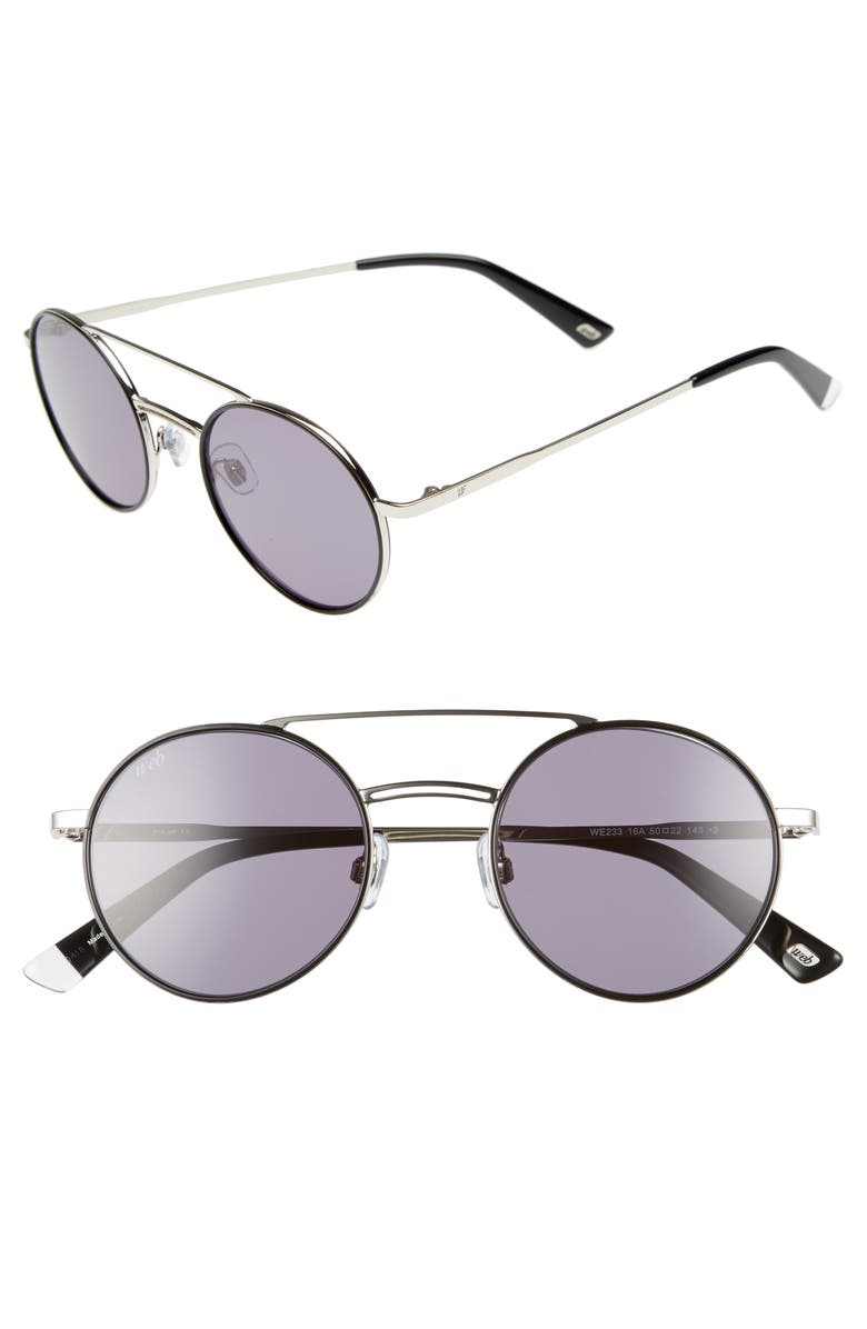 WEB 50mm Aviator Sunglasses, Main, color, SHINY PALLADIUM/ SMOKE