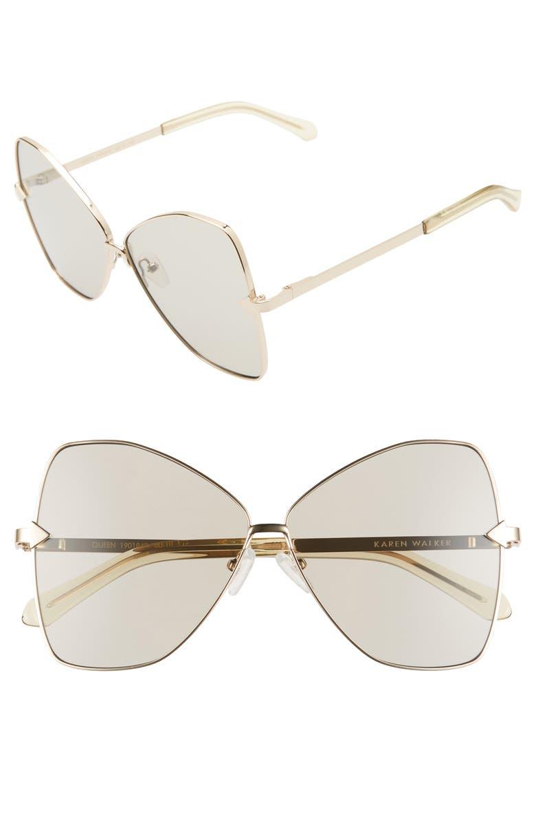 KAREN WALKER Queen 60mm Butterfly Sunglasses, Main, color, GOLD/ STEEL