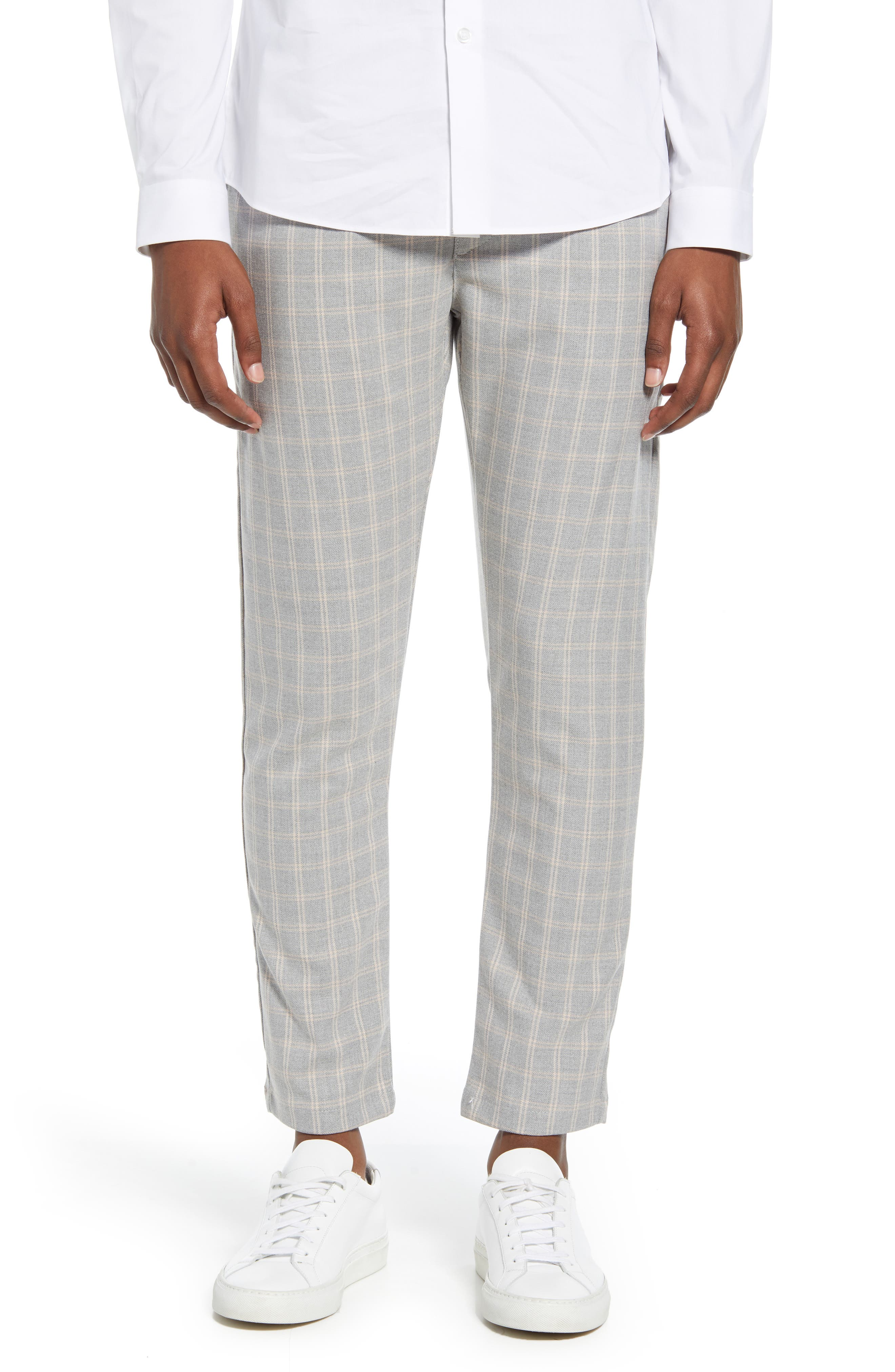 60s – 70s Mens Bell Bottom Jeans, Flares, Disco Pants Mens Topman Whyatt Check Slim Fit Trousers $65.00 AT vintagedancer.com